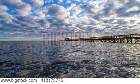 Pier On The Gulf Coast Of Biloxi, Mississippi