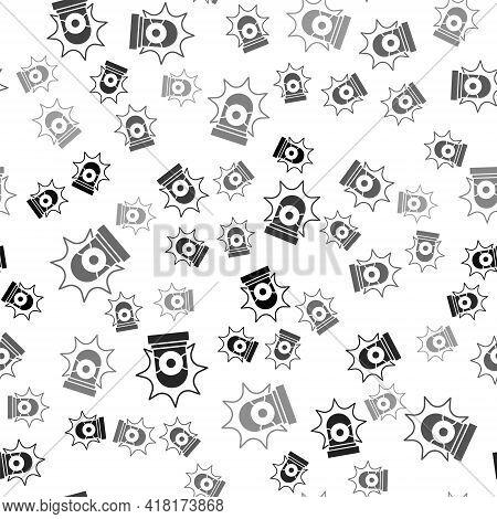 Black Flasher Siren Icon Isolated Seamless Pattern On White Background. Emergency Flashing Siren. Ve