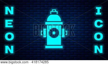 Glowing Neon Fire Hydrant Icon Isolated On Brick Wall Background. Vector