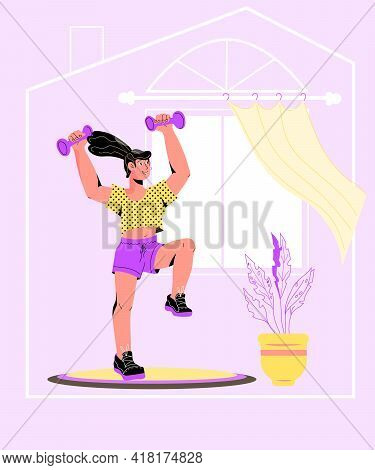 Athletic Sportive Young Woman Exercising At Home, Cartoon Vector Illustration. Home Sport And Health