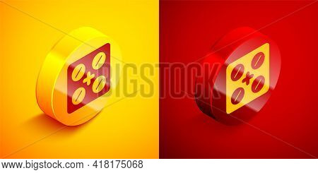 Isometric Pills In Blister Pack Icon Isolated On Orange And Red Background. Medical Drug Package For