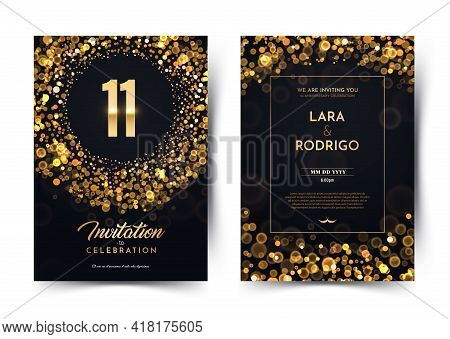 11th Years Birthday Vector Black Paper Luxury Invitation Double Card. Eleven Years Wedding Anniversa