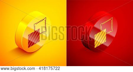 Isometric Textile Fabric Roll Icon Isolated On Orange And Red Background. Roll, Mat, Rug, Cloth, Car