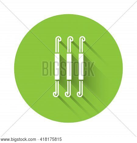 White Crochet Hook Icon Isolated With Long Shadow. Knitting Hook. Green Circle Button. Vector