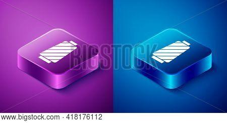 Isometric Sewing Thread On Spool Icon Isolated On Blue And Purple Background. Yarn Spool. Thread Bob