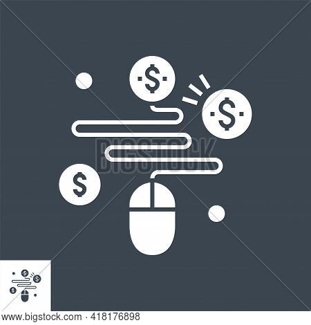 Pay Per Click Related Vector Glyph Icon. Isolated On Black Background. Vector Illustration.