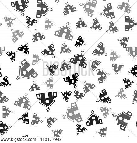 Black Church Building Icon Isolated Seamless Pattern On White Background. Christian Church. Religion
