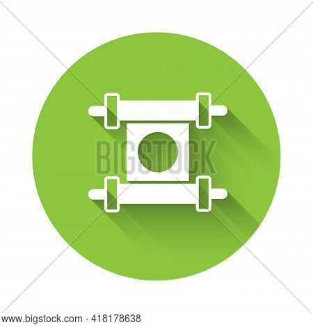 White Decree, Paper, Parchment, Scroll Icon Icon Isolated With Long Shadow. Chinese Scroll. Green Ci
