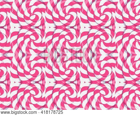 Strawberry Lollipop Texture, Seamless Pattern With Twisted Sucker Candy. Vector Cartoon Abstract Bac