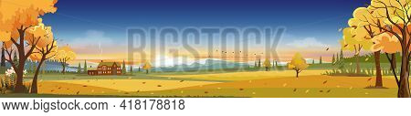 Fantasy Landscapes Countryside With Sunset In Autumn,vector Wonderland Mid Autumn With Farm Field, M