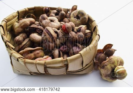 Manila Tamaraind Also Known As Chichbila Or Jungle Jalebi, Asian Or African Wild Pink Raw Fruit With