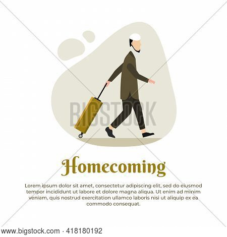 Vector Illustration Of Muslim Male Walking To Go On Vacation With Suitcases