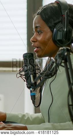 Sad Black Woman Streamer With Headphone Losing Videogames