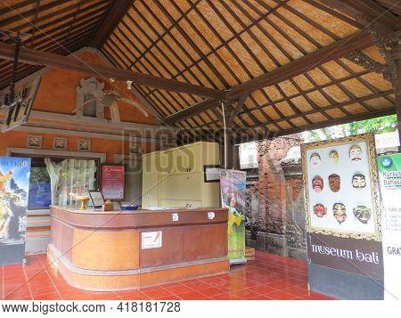 Denpasar, Indonesia - October 18, 2019 : Reception Lobby At Bali Museum.