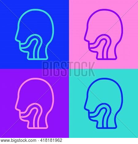 Pop Art Line Sore Throat Icon Isolated On Color Background. Pain In Throat. Flu, Grippe, Influenza,