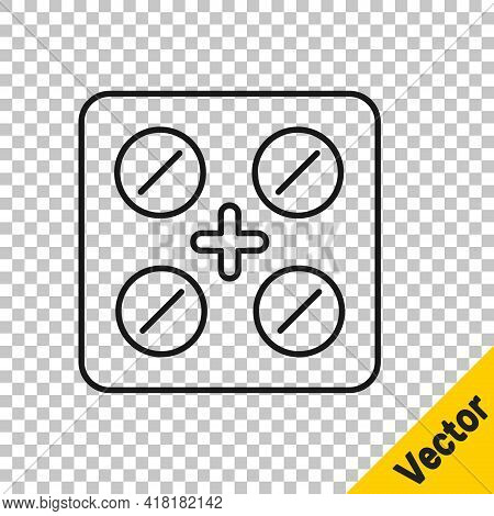 Black Line Pills In Blister Pack Icon Isolated On Transparent Background. Medical Drug Package For T