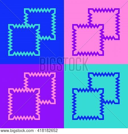 Pop Art Line Textile Fabric Roll Icon Isolated On Color Background. Roll, Mat, Rug, Cloth, Carpet Or