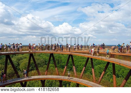 Ronnede. Denmark. July 27. 2019 Camp Adventure Tower. Observation Tower In The Forest. People Enjoy
