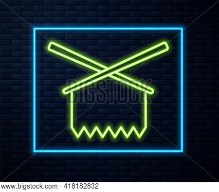 Glowing Neon Line Knitting Needles Icon Isolated On Brick Wall Background. Label For Hand Made, Knit
