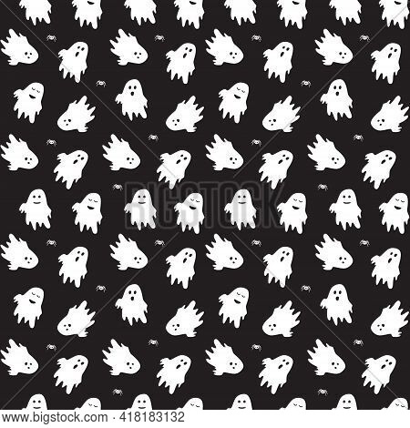 Cute Ghost Boo Holiday Character Seamless Pattern Flat Style Design Vector Illustration Set Isolated