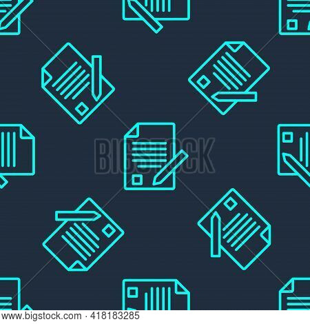 Green Line Exam Sheet And Pencil With Eraser Icon Isolated Seamless Pattern On Blue Background. Test