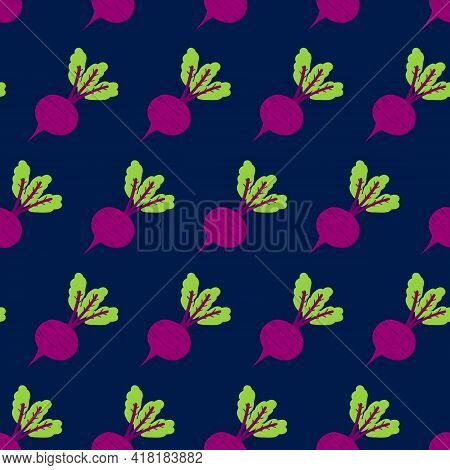 Beet, Beetroot Vegetable With Green Leaves Cute Cartoon Style Vector Seamless Pattern Background For