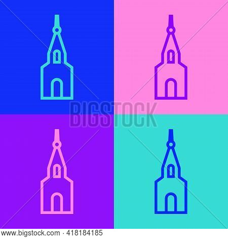 Pop Art Line Church Building Icon Isolated On Color Background. Christian Church. Religion Of Church