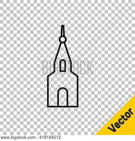 Black Line Church Building Icon Isolated On Transparent Background. Christian Church. Religion Of Ch