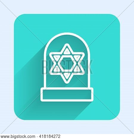 White Line Tombstone With Star Of David Icon Isolated With Long Shadow. Jewish Grave Stone. Gravesto