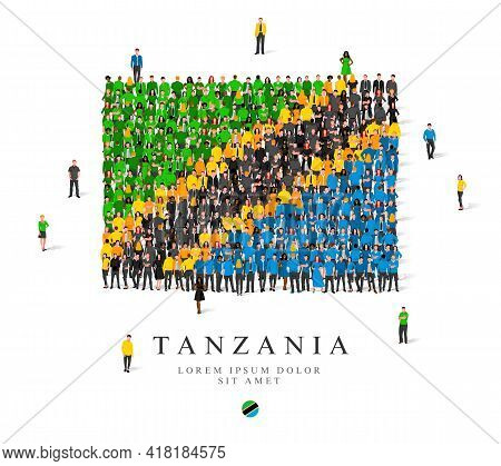A Large Group Of People Are Standing In Green, Yellow, Black And Blue Robes, Symbolizing The Flag Of