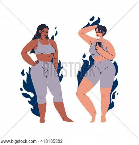 A Pair Of Attractive Women. Different Female Characters In A Gray Tight-fitting Tracksuit. Set Of Ov