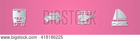 Set Paper Cut Bus, Hatchback Car, Helicopter And Yacht Sailboat Icon. Paper Art Style. Vector