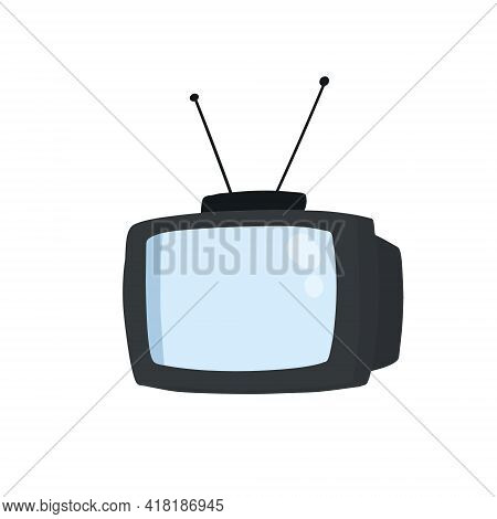 Retro Tv With Antenna. Television Screen. Flat Cartoon Illustration Isolated On White