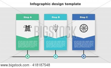 Set Body Armor, Neptune Trident And Old Wooden Wheel. Business Infographic Template. Vector