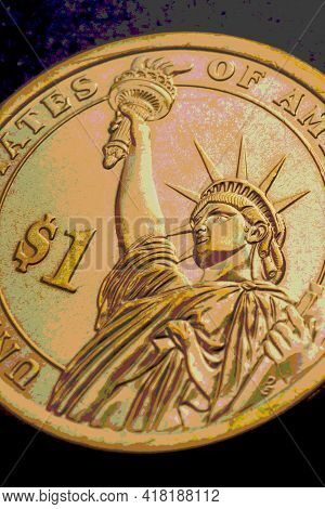 U.s. One Dollar Coin Close-up. Dramatic Golden Vertical Illustration About American Economy, Money A