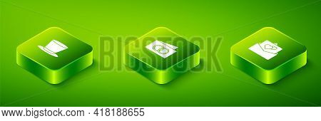 Set Isometric Greeting Card, And Cylinder Hat Icon. Vector