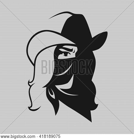 Cowgirl Outlaw Wearing Bandana Portrait Symbol On Gray Backdrop. Design Element