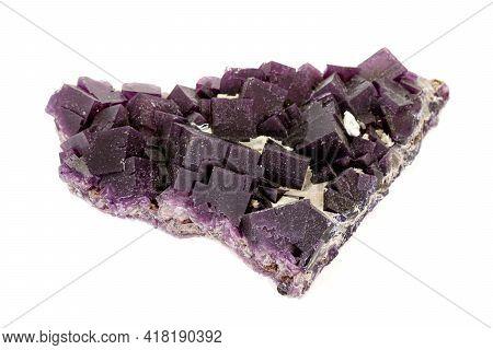 Macro Stone Mineral Fluorite On A White Background
