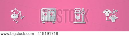 Set Paper Cut Genetically Modified Food, Biosafety Box, Test Tube Flask On Stand And Cloning Icon. P