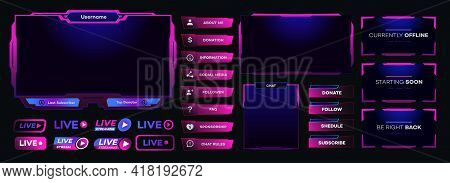 Vector Streaming Screen Panel Overlay Game Template Neon Theme. Live Video, Online Stream Futuristic