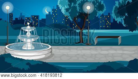 Park Composition With Night View Of City Park With Fountain Empty Lanes Lights And Cityscape Backgro
