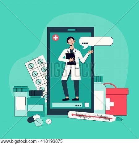 Telemedicine Exams Conducted By Smartphone Video Chat With Doctor Online Background Composition With