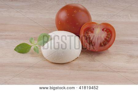fresh mozzarella on chopping board