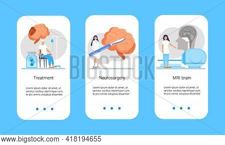Neurology Healthcare, Mri Vector Concept Vector App Templates Set. Anatomical Knowledge Science Of B