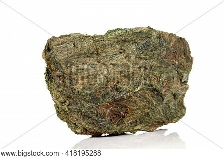 Macro Stone Mineral Diopside Calcite Magnetite On A White Background