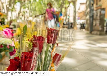 Close-up Of Roses Displayed In An Urban Florist`s Shop For The Celebration Of The Day Of The Book Or