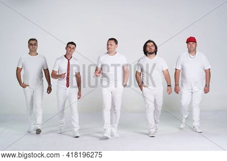 Diverse People Group Portrait On White Background. Group Of Happy Young People Standing Together