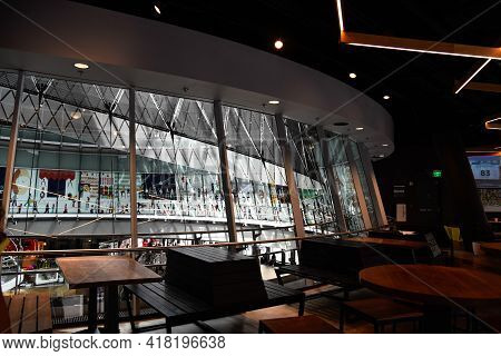 New York City, Usa - June 20, 2018: Interior View Of The Fulton Center. It Is A Transit Center And R