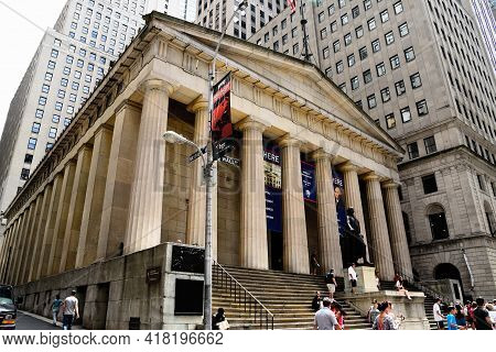 New York City, Usa - June 20, 2018: Low Angle View Of Federal Hall National Memorial Building In Fin