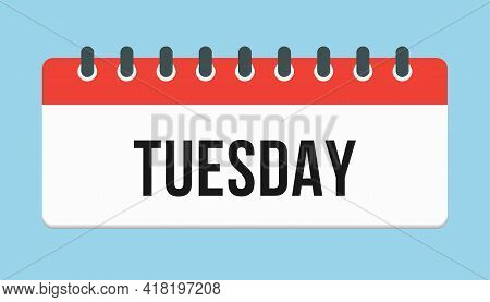 Vector Icon Page Calendar, Day Of The Week Tuesday